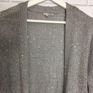 Halogen Grey Sequins Open Knit Cardigan SZ. S